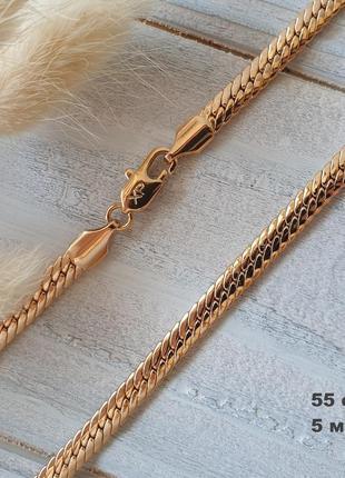 """Женская цепочка толщиной 5 мм """"снейк"""". позолота 18 к xuping, медицинское золото"""