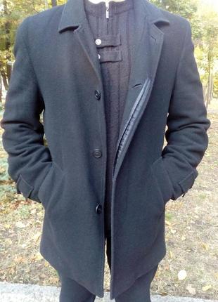 Мужское, пальто, шерстяное, классическое, демисезонное, черное, размер 50-52.