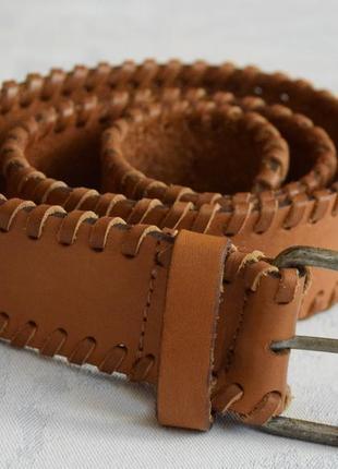 Кожаный ремень с плетением коричневый ремень 100% кожа ремінь, пасок