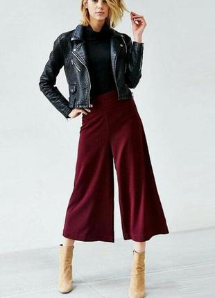 Бордовые брюки кюлоты, палацо с складками на тали,высокая посадка