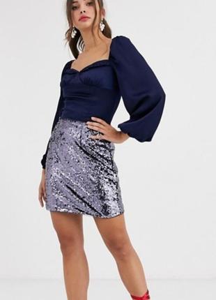 Стильная юбка мини в паетках