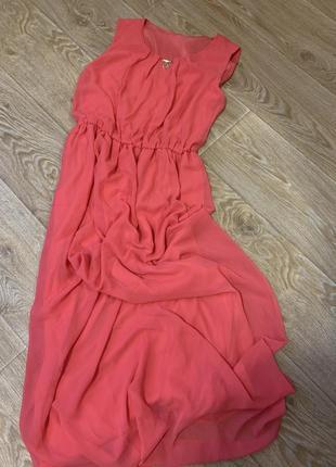 Шикарное длинное нарядное коралловое платье под пояс