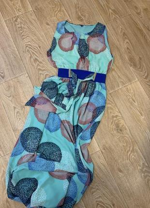 Шикарное нарядное длинное платье под пояс