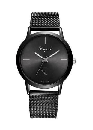 Часы наручные чёрные на силиконовом ремешке годинник