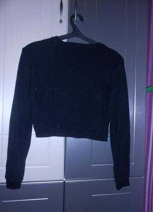 Черный укороченный шерстяной свитер кофта топ кроп топ brandy melville