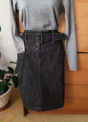 Стильная джинсовая юбка-карандаш с поясом, высокая посадка, состояние новой