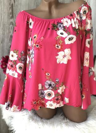 Блуза , блузка в цветы , нарядная , яркая , легкая , цветочный принт германия