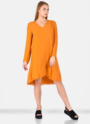 Оранжевое платье миди cos с длинным рукавом  m