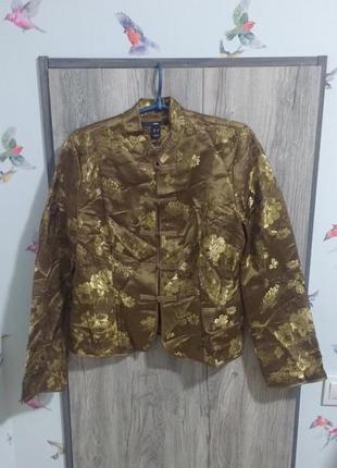 Чудесный жакет  пиджак в китайском стиле с цветочным узором