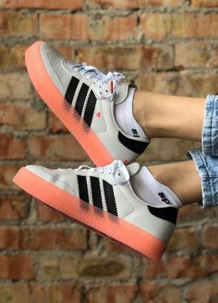 Кроссовки/кеды adidas белый цвет розовая подошва (36-40)💜