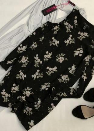 Стильное цветочное платье  с открытыми плечами  new look