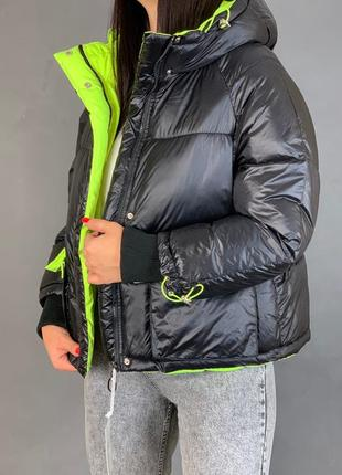 Объёмный пуховик /куртка зимняя оверсайз с капюшоном