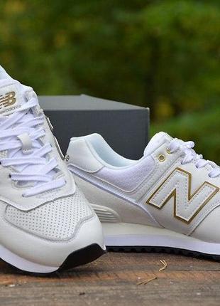 Оригинал new balance! шикарные белые кожаные кроссовки 574 wl574lde нью беланс