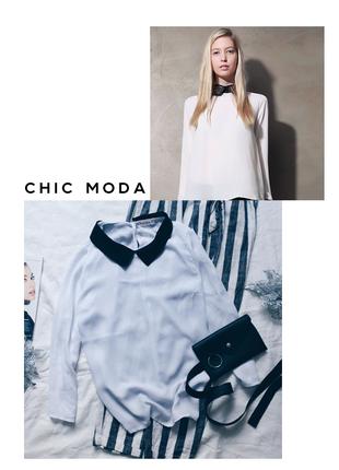 Белая шифоновая блуза с воротником