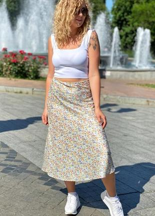 ❤️атласная юбка миди с акварельным принтом❤️
