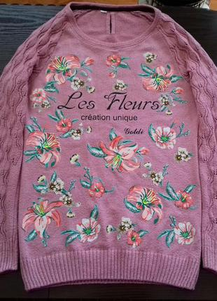 "Кофта с надписью "" les fleurs "" , рукав реглан"