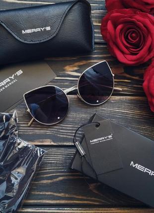 Стильные эффектные женские солнцезащитные очки кошечки со стеклом + чехол кейс в подарок