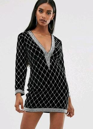 Велюровое платье расшитое бисером asos