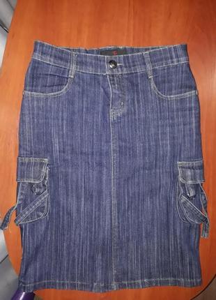 Юбка джинсовая миди удлинённая  спортивный стиль