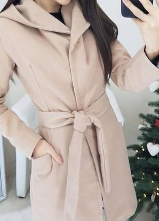 Пальто с капюшоном кашемир