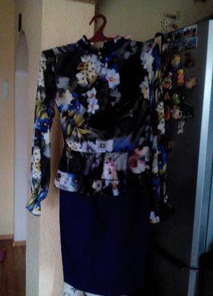 Супер платье баска! верх шифон в цветочек отделка рюшами!