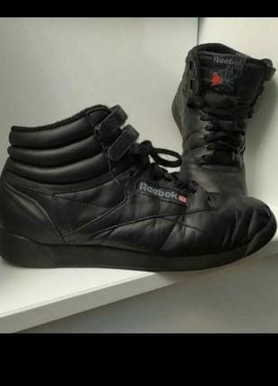 Черные кожаные фирменные высокие кроссовки nike