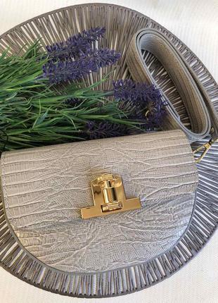 Кожаная сумочка с широким ремнём клатч кроссбоди серая бежевая тауп  италия новинка