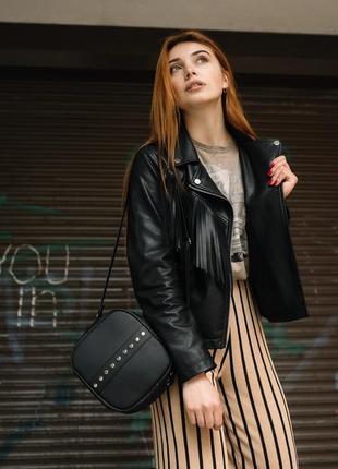 Женская черная сумка через плечо, кроссбоди