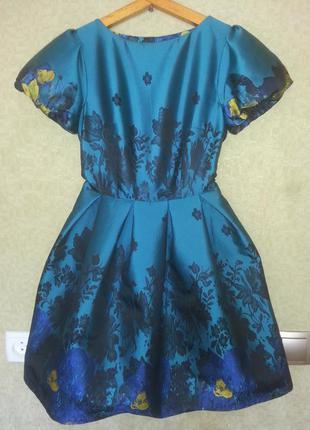 Обьемное платье метализированый хамелеон с вышивкой вечер ,выпускной