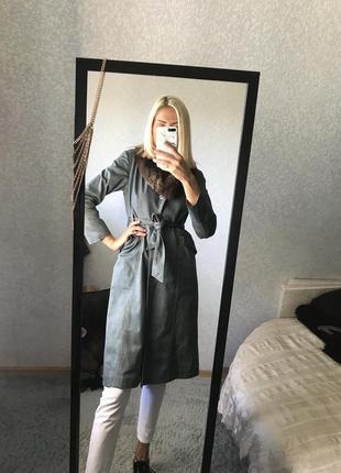 Джинсовый плащ тренч пальто длинный