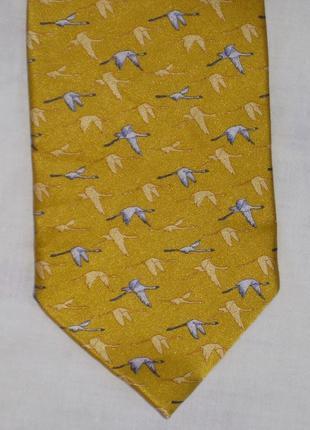 Шелковый галстук цвета золота принт huasi