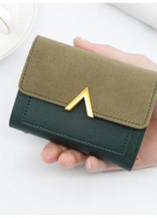 Кошелек бумажник из эко кожи зеленый