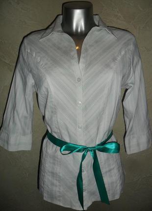 Белая хлопковая рубашка с зеленой лентой  xxl  16