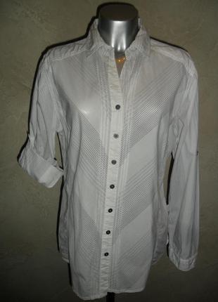 Белая хлопковая полосатая рубашка xl