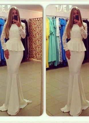 Новое эффектное гипюровое макси платье айвори свадебное аргентина 46-48рl