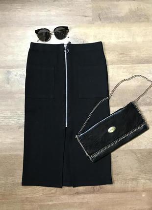 Классная чёрная юбка миди