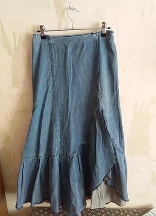Юбка джинсовая с оборкой винтаж