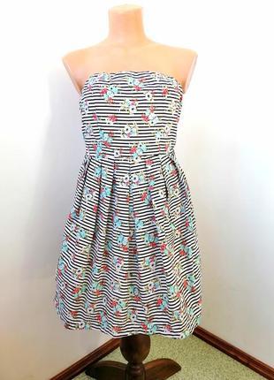 Платье в полоску и цветочек без  бретелек