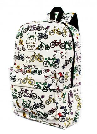 Рюкзак mm white с велосипедами портфель белый сумка ранец женский / мужской