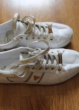 Модные кроссовки кеды guess белые/золото размер 39