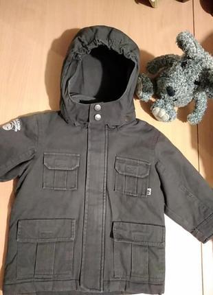 Детская куртка парка с капюшоном на рост 86-92 см