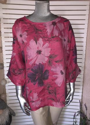 Льняная блуза в цветы италия