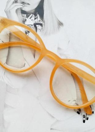 Имиджевые очки  круглые с  прозрачной линзой жёлтый