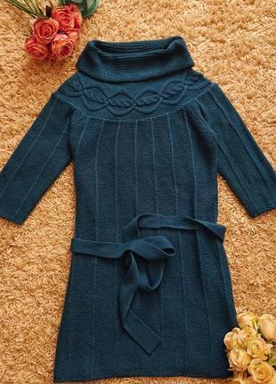 Женское теплое трикотажное платье цвет морская волна