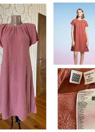 Uniqlo u  💯 % оригинал  фирменное хлопково-льняное платье из шикарной графированной ткани