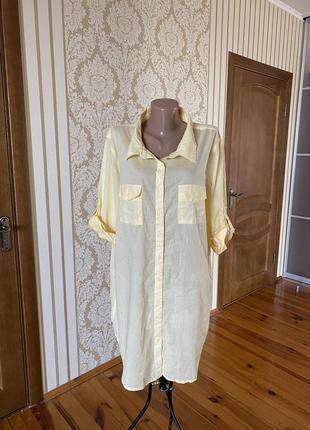 Красивенькая солнечная хлопковая туника платье- рубашка блузка