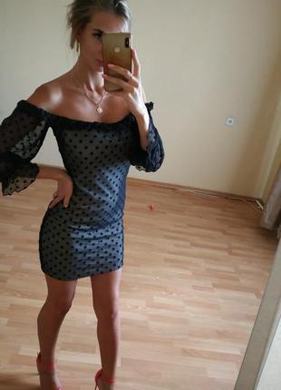 Платье сеточка в горошек
