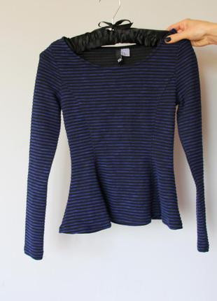 Кофта h&m с баской s xs полосатая в полоску zara кофточка блузка чёрная синяя чорна синя