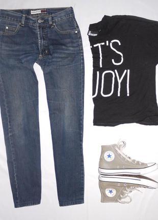 Темно синие укороченные mom jeans бананы , мам джинс