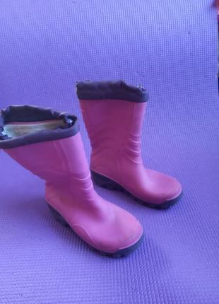 Сапожки резиновые детские розовые, длина стельки 20 см. 31-32 р.
